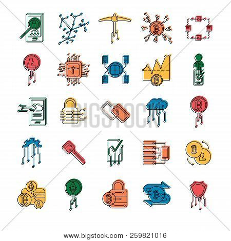 Blockchain And Cryptocurrency Mining Icon. Doodle Illustration Of Blockchain And Cryptocurrency Mini