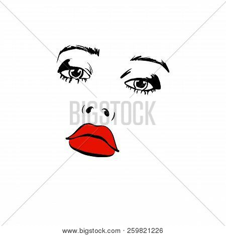Fashion Woman With Red Lips Sketch. Fashion Face Woman Portrait For Your Design. Beautiful Young Wom