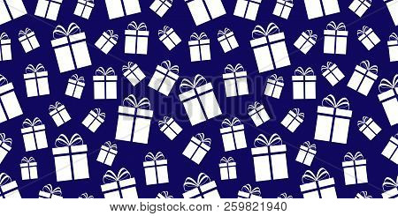 Gift Boxes Background. Presents Seamless Pattern. Winter Holidays Print. Simple Flat Icons. Repeat T