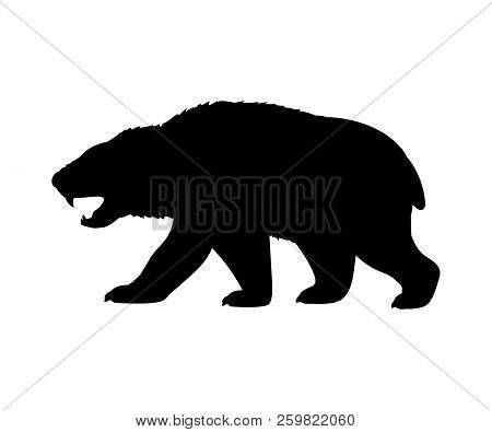 Amphicyonidae Bear Dogs Silhouette Extinct Mammal Animal. Vector Illustration
