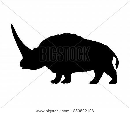 Elasmotherium Rhinoceros Silhouette Extinct Mammal Animal. Vector Illustration
