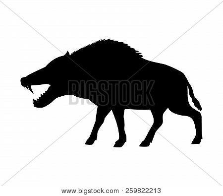 Entelodon Silhouette Extinct Mammal Animal. Vector Illustration