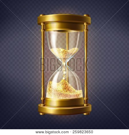 Vector Realistic Hourglass, Antique Clock With Golden Sand Inside, Isolated On Transparent Backgroun