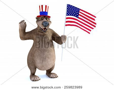 3d Rendering Of A Charming Smiling Cartoon Bear Wearing A Flag Decorated Hat And Holding An American