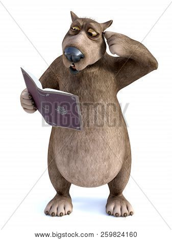 3d Rendering Of A Charming Smiling Cartoon Bear Holding A Book In His Hand And Looking Confused Whil