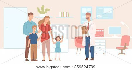 Smiling Mother, Father And Children Came To Physician's Office, Clinic Or Hospital. Visit To Family
