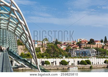 Tbilisi, Georgia - September 01, 2018 Panoramic View Of Tbilisi City, Beautiful Combination Of Old T