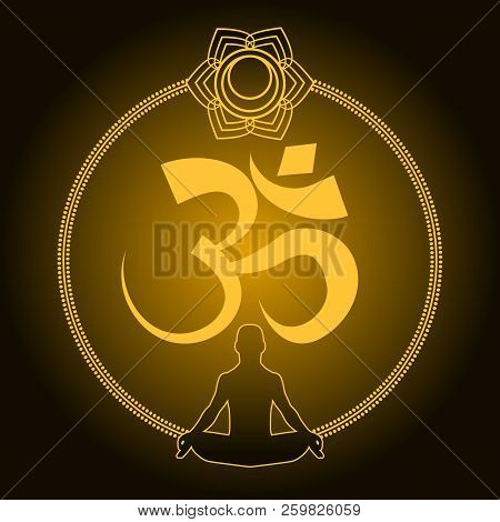 Diwali Om Sacred Symbol. Indian Sacred Sound, Original Mantra, A Word Of Power. The Symbol Of The Di
