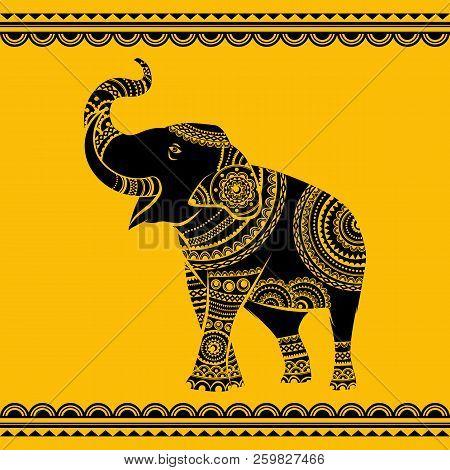 Vector Ethnic Elephant. Hand Drawn Ornate Elephant. Isolated Vector Illustration. Ideal Ethnic Backg