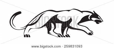 Black Stylized Silhouette Of Panther. Vector Wildcat Illustration. Animal Isolated On White Backgrou