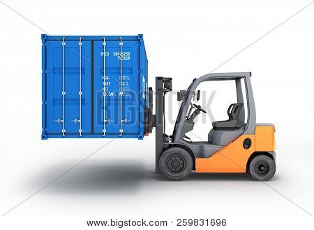 Forklift Handling The Cargo Shipping Container Side View Isolated On White Background 3d Render