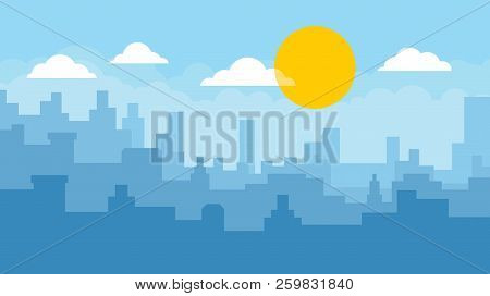 Flat Cityscape With Blue Sky, White Clouds And Yellow Sun. Modern City Skyline Flat Panoramic Vector