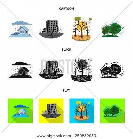 Vector Illustration Of Natural And Disaster Symbol. Collection Of Natural And Risk Stock Vector Illu