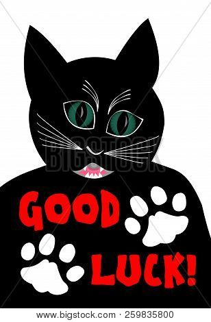 Angry black cat wishing good luck. Cartoon of black tomcat on white background, two white cat paws poster