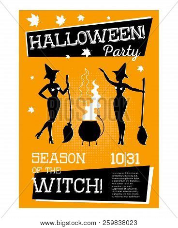 Poster With Two Witches For Halloween Party With Orange Background. Sorceress Preparing Potion. Cele