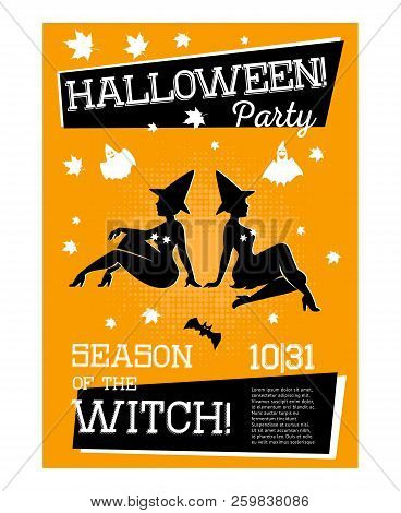 Poster With Two Witches For Halloween Party With Orange Background. Sorceress In Dress Is Sitting Si