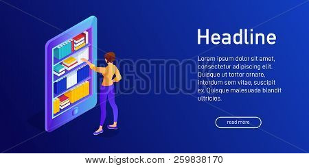 Isometric Concept Of Buying E-book, Landing Page Design. Web Site Decor With 3d Ebook Library. Woman