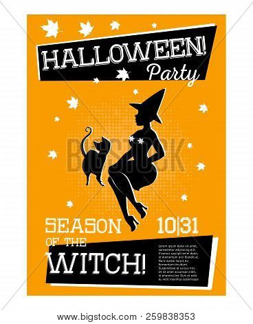 Poster With Witch For Halloween Party With Orange Background. Sorceress Is Sitting Sideways With Cat