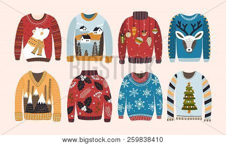Collection Of Ugly Christmas Sweaters Or Jumpers Isolated On Light Background. Bundle Of Knitted Woo