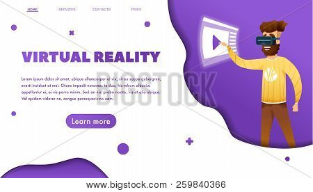 Virtual Reality Web Banner Concept With Bearded Man Wearing Vr. Cartoon Modern Style. Paper Cut Styl
