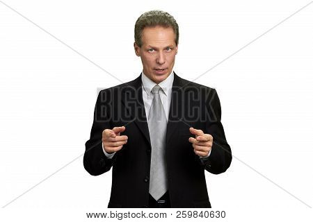 Man In Formal Wear Giving Motivation. Middle-aged Businesman Looking Motivated, Isolated On White Ba