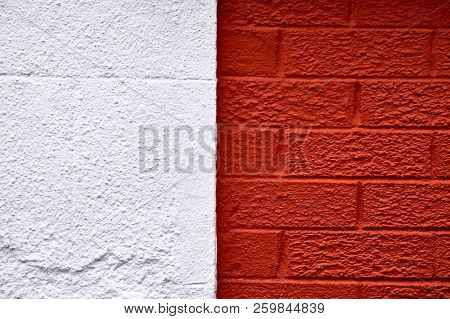 White Color And Orange Color Brick Wall Background.