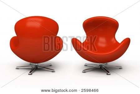 Leather red armchair (front and back view) isolated on white background poster