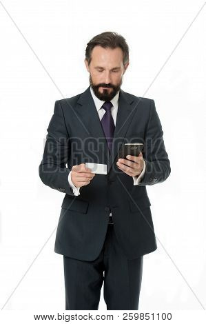 Online Payment Is Easy. Man Hold Smartphone And Use Credit Card For Online Shopping. Business Manage