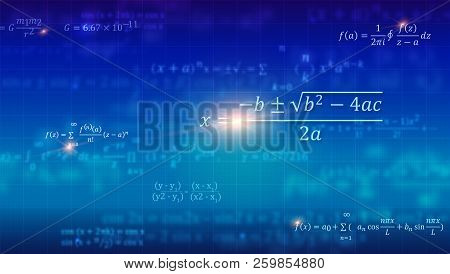 Mathematical Formulas. Abstract Blue Background With Math Equations Floating On School Blackboard. V