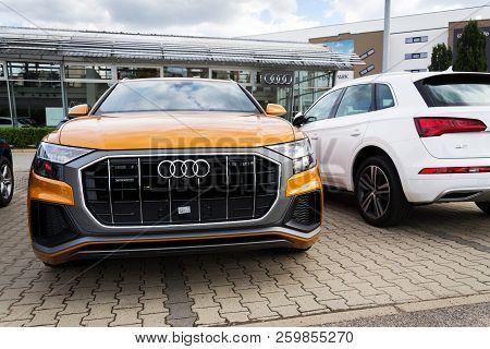 Prague, Czech Republic - September 22 2018: Audi Company Logo On Car Audi Quattro On September 22, 2