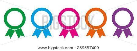 Set Of Colorful Award Medals On White Background Vector Illustration Eps10
