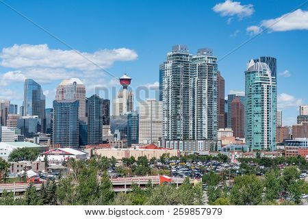 Calgary, Canada - July 6, 2018:  Skyline Of The City Calgary, Alberta, Canada