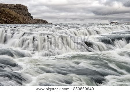 Gullfoss Waterfall Located In Canyon River Southwest Iceland. River Rapid Waterfall. Water Stream Fl