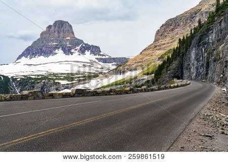 Going To The Sun Road Carved Into The Mountains In Glacier National Park, Montana