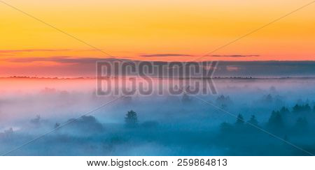 Amazing Sunrise Over Misty Landscape. Scenic View Of Foggy Morning Sky Above Misty Forest. Middle Su