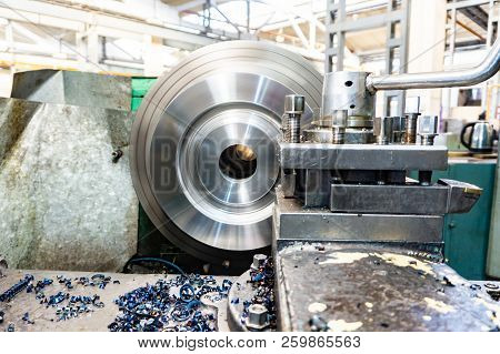 Processing Of Metal On The Machine. Turning Work In Production