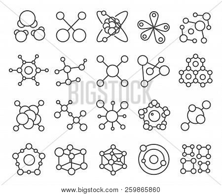Molecule Model Icons Set. Chemistry Structure Of Molecules And Science. Vector Atom Molecule Outline