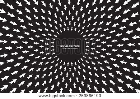 Vector White Arrows In Radial Composition Diverging In Inward Direction On Black Background Abstract
