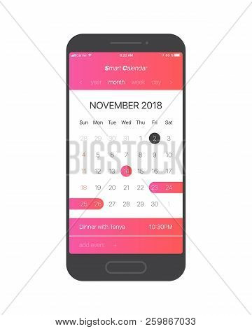 Smart Calendar App Concept November 2018 Page with To Do List and Tasks Vector UI UX Design Mockup for Mobile Phone. Planner Application Template for Smartphone