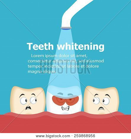 Professional Teeth Whitening With Ultraviolet Lamp. Cosmetic Dental Care Procedure. Comic Dental Cha