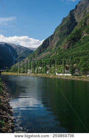 Beautiful Lake And Mountains In Gudvangen, Neirofjord, Norway