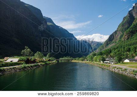 Beautiful Lake And Green Mountains In Gudvangen, Neirofjord, Norway