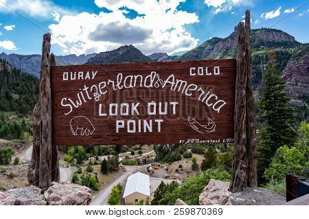 July 2 2018 - Ouray, Colorado: Welcome Sign For Ouray Colorado, Located Along The Million Dollar Hig