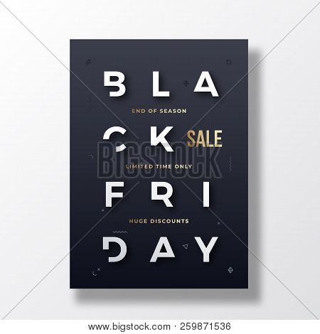 Black Friday Stylish Typography Banner, Poster Or Flayer Template. Creative White Reduced Letters Co
