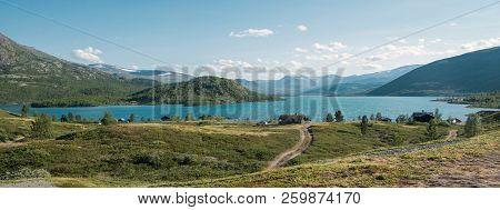 Majestic Landscape With Mountains And Village At Gjende Lake, Besseggen Ridge, Jotunheimen National
