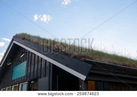 Cozy Wooden House With Green Grass On Roof Against Blue Sky, Besseggen Ridge, Jotunheimen National P