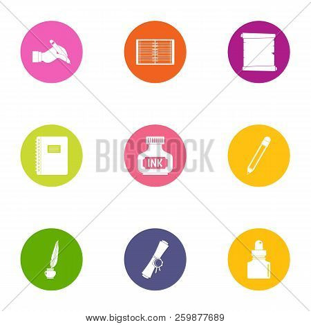Printing Ink Icons Set. Flat Set Of 9 Printing Ink Vector Icons For Web Isolated On White Background