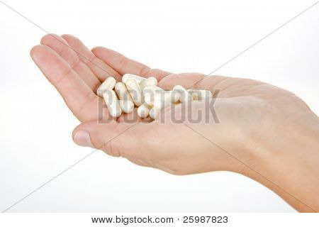 Women hands with tablets. Isolate on white.