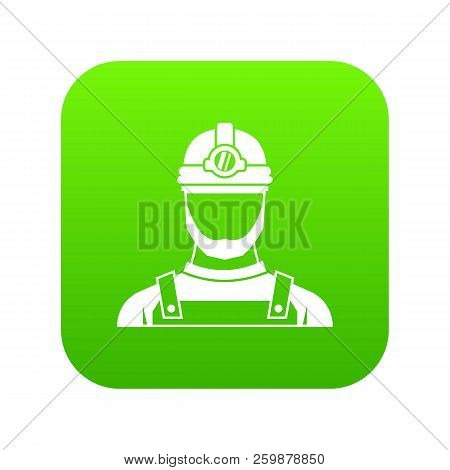 Male Miner Icon Digital Green For Any Design Isolated On White Vector Illustration