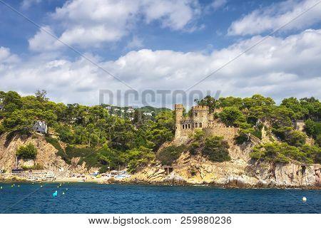 Beautiful View On Castell D'en Plaja From Seaside In Lloret De Mar, Costa Brava, Spain. Sunny Summer